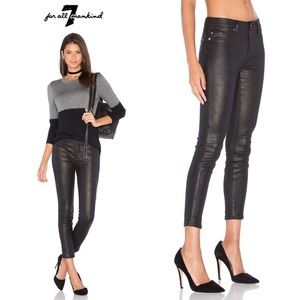 7FAM | Knee Seam Skinny Crackled Leather in Black